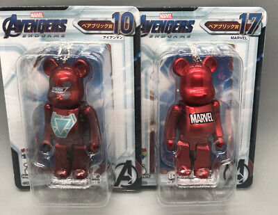 $64.99 • Buy RARE Medicom 100% Bearbrick Marvel Iron Man Tony Stark+metal Red 2pcs USSeller
