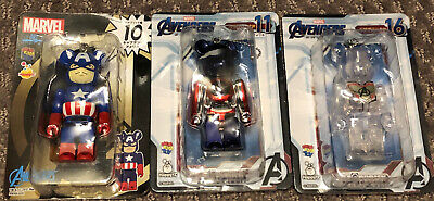 $110 • Buy RARE Medicom 100% Bearbrick Marvel Captain America+Shield+Avengers 3pcs USSeller