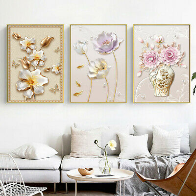 AU7.99 • Buy 3D Vase Flowers Bloom Riches Canvas Poster Hangings Picture Prints Modern Decor