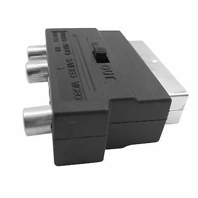 New SCART To 3 RCA Composite Phono SVHS S-Video Adapter In Out Switch Converter • 3.29£