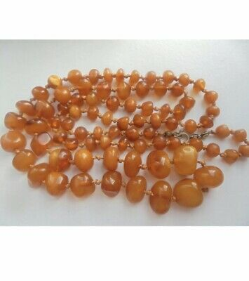 Antique 1920s Baltic Butterscotch Amber Graduated Beads Necklace - 33   LONG • 139.99£