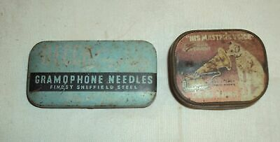 VINTAGE TIN HMV And DECCA GRAMOPHONE ORIGINAL NEEDLE BOX WITH NEEDLES 1940 RARE • 45.15£