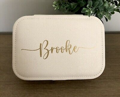 AU30 • Buy Personalised Travel Jewellery Case Box - Speckled White And Gold Or Pink