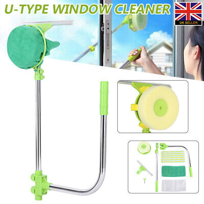U Type Telescopic Window Cleaner Glass Cleaning Kit Squeegee Dust Clean Brush • 17.99£