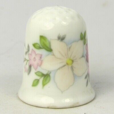 Coalport Collectable Bone China Thimble Pale Pink Flowers • 15.07£