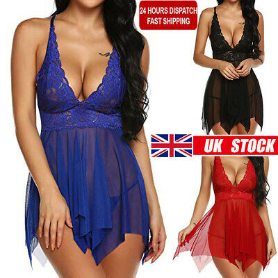 Sexy Ladies Lingerie Babydoll Robe Womens Underwear Night Dress Sleep Wears 8-18 • 6.09£