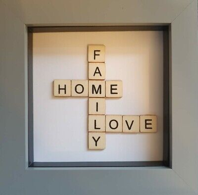 Scrabble Wall Art, Hand Made Family Picture In A Box Frame • 19.99£