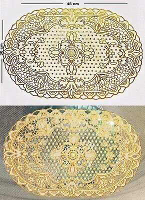 Gold Cut Work Table Mats Non-slip PVC Placemats Coffee Table Dining Decoration • 3.39£