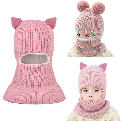 Kids Girls Boys Toddler Baby Winter Warm Hat Hooded Scarf Earflap Knitted Cap NF • 7.63£