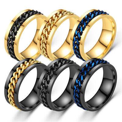 AU9.45 • Buy Titanium Stainless Steel 8mm Spinner Ring Curb Chain Men Women Rings Size 6-12