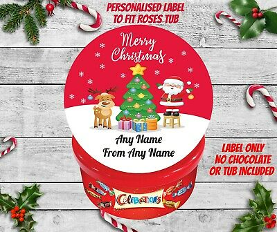 Personalised Christmas Chocolate Tub Label Sticker For CELEBRATIONS Pre Cut • 2.95£