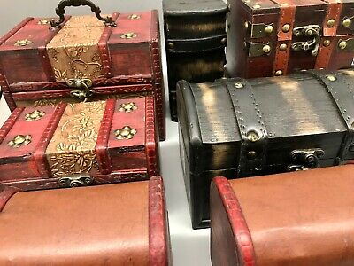 Rustic  Wooden Boxes Colonial Style Trunks Treasure Chest Vintage Storage  • 11.99£