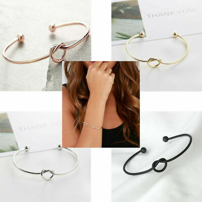 Silver Rose Gold Infinity Friendship Knot Heart Bangle Bracelet In Gift Bag Love • 3.55£