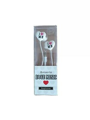 Accessorize I ❤ Me Heart Earphones New In Box Cute Retro Style • 2.40£