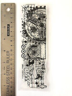 Clear Rubber Stamps Clock Cog Gear Man Numbers Grid Pattern Background Steampunk • 6.99£