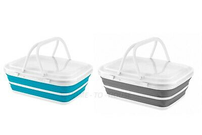 Large Collapsible Picnic Basket With Ice Blocks Multi-use Camping Basket Cooler • 13.99£