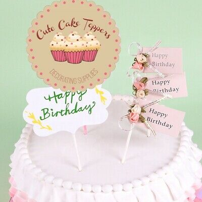 £2.59 • Buy ⭐3pcs Cute Flag Happy Birthday  Cake Topper Cake Decorations For Birthday Cakes⭐