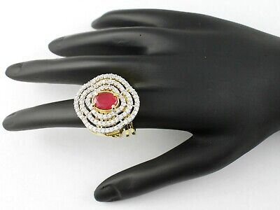 Gold Plated 2 In 1 Ring And Bracelet Studded With CZ Diamante And Faux Ruby • 9.99£