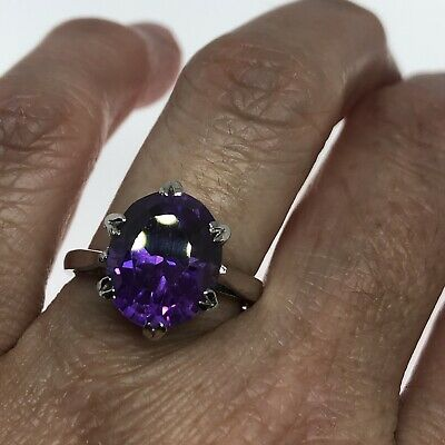 AU134.64 • Buy Vintage Purple Alexandrite Ring Lab Stone 925 Sterling Silver Size 7.25