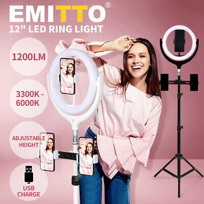 AU69.99 • Buy 12'' LED Ring Light With Tripod Stand Phone Holder Dimmable Selfie Studio Lamp