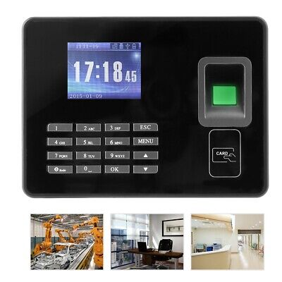 2.8in Password Fingerprint Time Clock Office Employees Attendence Machine Black • 48.49£