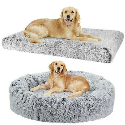 AU32.97 • Buy 50-127cm Pet Calming Mat Dog Cat Bed Comfy Warm Fluffy Mattress Donut Cushion