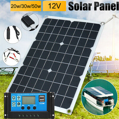 AU30.32 • Buy 20/30/50W USB Solar Panel Battery Charge+40A Controller RV Boats Outdoor 2V