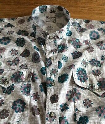 Mens Super Rare Floral Batwing Grandad Shirt By Mustang.    18  Collar.   Xl • 4.99£