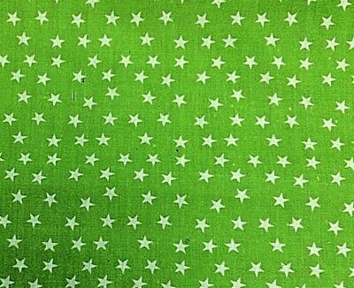 Bright Green  & White Star Patterned Cotton Dress Fabric 112 Cm Wide • 4.29£