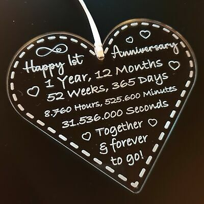 Happy First 10th 25th 50th Anniversary Gift Plaque For Couples Heart Shape  • 6.97£