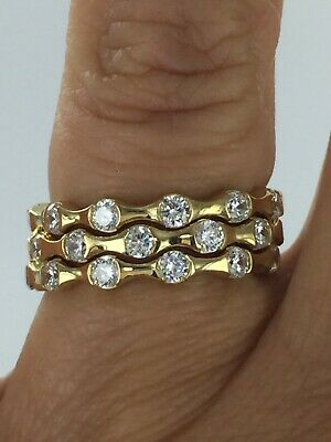 £35.59 • Buy Gorgeous Bamboo Design Round CZ 925 Silver 14KT Eternity 3 Ring Set Size 6.75
