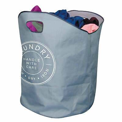 XL LAUNDRY BAG Basket Handles Foldable Washing Sack Clothes Storage Bin Bag • 6.95£