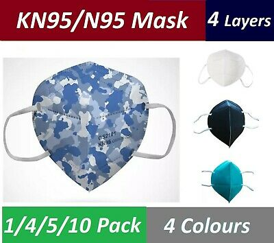 AU10.50 • Buy Reusable N95/KN95 4 Layers Face Mouth Mask AU Stock (4 Colours) - Upto 10 X Pack