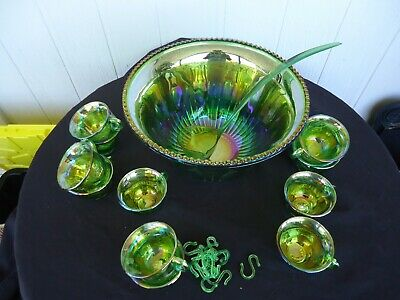 Vintage Carnival Glass Green Punch Bowl Set 12 Glasses Ladle And Hooks • 98.18£
