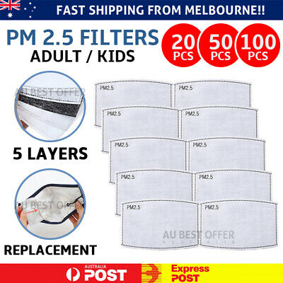 AU7.99 • Buy PM2.5 Face Mask Filter For Adult Kids Anti Pollution Filters Pad 5 Layers AU NOW