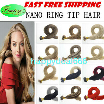 £25.48 • Buy Nano Ring Tip Hair Extensions Micro Ring Beads Link Remy Human Hair Thick1g/s 9A