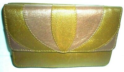 JANE SHILTON Bronze Sot Leather Bifold Flapover Wallet Purse 6  X 3.5  • 12.95£