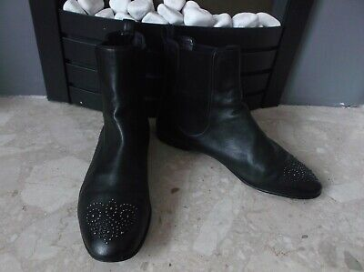Gucci Ladies Black All Leather Studded Flat Ankle Boots Size EU 40.5 UK 7 • 74.99£