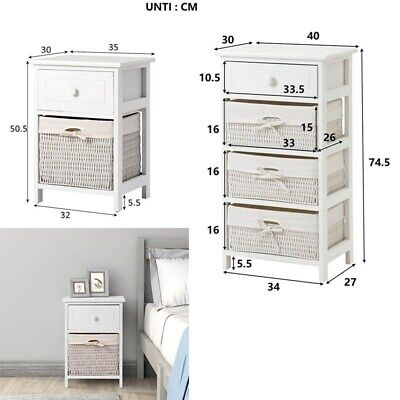 White Storage Unit With Baskets Chest Of Wicker Drawers Room Shelf Cabinet • 55.99£