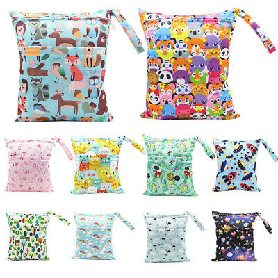 AU11.49 • Buy Large Double Zip Waterproof Baby Wet Bag Nappy Bag For Cloth Nappies 30cm X 36cm
