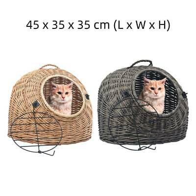 Portable Cat Carrier Pet Carrier Puppy Travel Transporter Wicker Basket Vet Safe • 33.39£