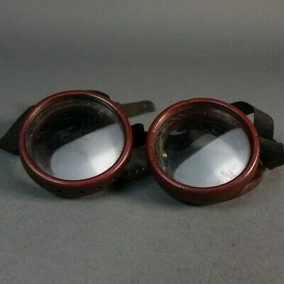 $28.99 • Buy Antique Bakelite Safety Glasses Goggles Metal Mesh Sides Motorcycle Steampunk