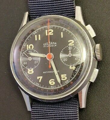 $ CDN659.10 • Buy Vintage Delbana Chronograph Military Dial Original Serviced Works And Keeps Time