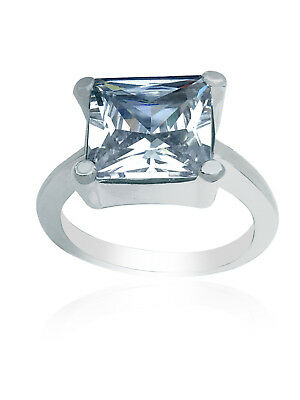Clear Ladies Rings Teardrop Silver Tone Finger Stone Ring For Women Sizes O Q • 3.67£