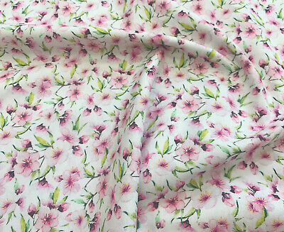 £6.99 • Buy 100% Cotton - Pink Cherry Blossom Flowers Print Fabric - Floral Craft Material