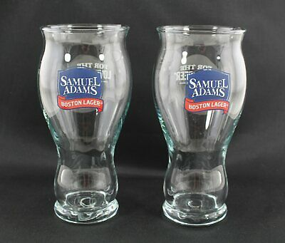 2 X Samuel Adams Boston Lager 2/3 PINT GLASSES - Nucleated - Man Cave Bar : NEW • 17.99£