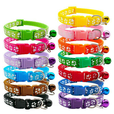 Cute Paw Print Adjustable Bell Pet Collar Cat Small Dog Kitten Puppy Colourful • 2.95£