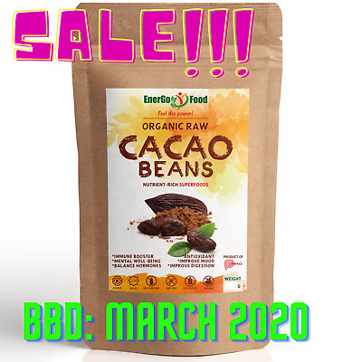 £8.99 • Buy 800g (4x200g) Organic CACAO / COCOA BEANS By EnerGo Food - Raw Cacao From Peru
