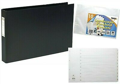 A3 Landscape Presentation Ring Binder With 1-12 Part Divider And 10 Punch Pocket • 19.87£