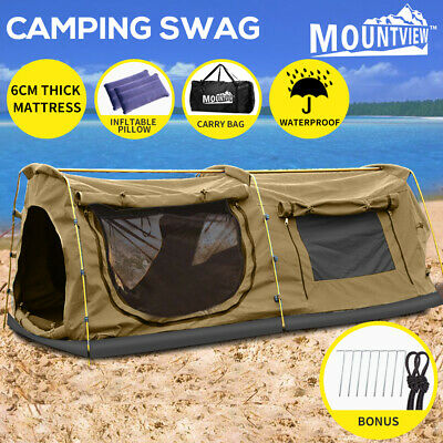 AU239.99 • Buy Mountview King Single Swag Camping Swags Canvas Dome Tent Hiking Mattress Khaki